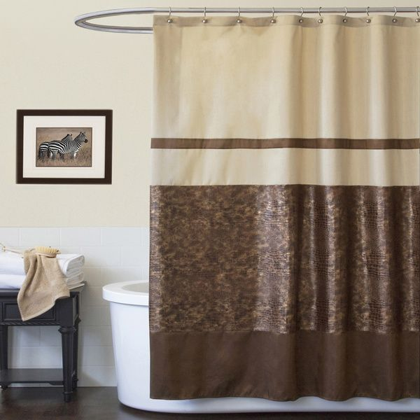 Lush Decor Crocodile Brown Shower Curtain