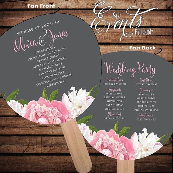 Pre-made Non-Custom Sample for 2 Dollars or Sets of 50 Custom Printed Wedding Program Fans -  with peony & grey script