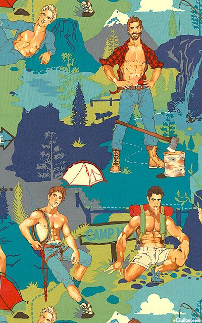 Hunky outdoorsy shirtless men fabric... can it get any better?