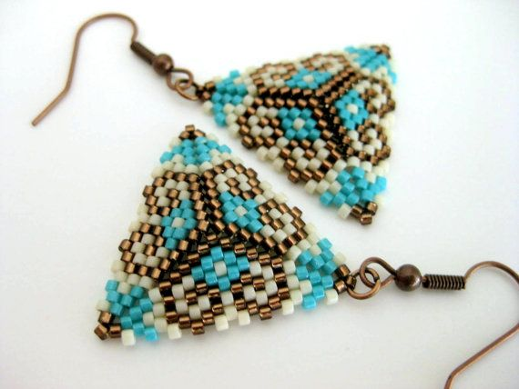 Hey, I found this really awesome Etsy listing at https://www.etsy.com/listing/207921813/beadwork-peyote-triangle-earrings-brown