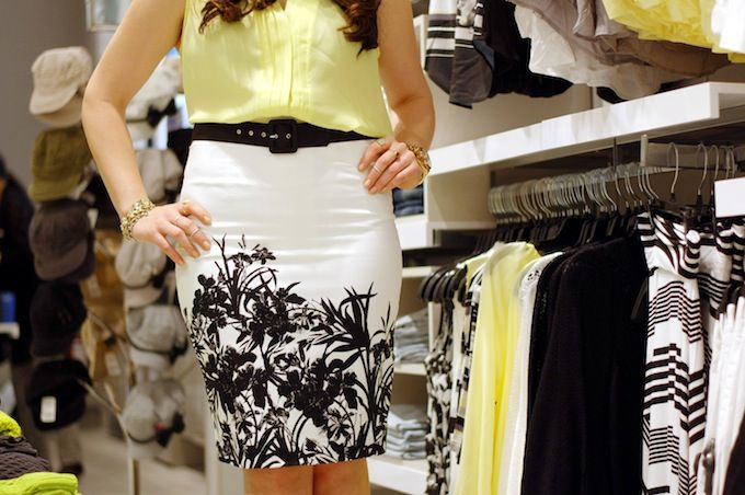 Around town: Floral skirt inside the new Le Château concept store at Richmond Centre (www.covetandacquire.blogspot.ca)