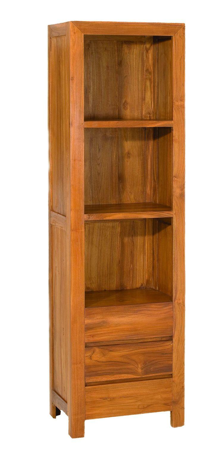 Bibliothèque Avec 3 Cases Et 3 Tiroirs En Teck Massif 54.7x38x190.5cm SANUR