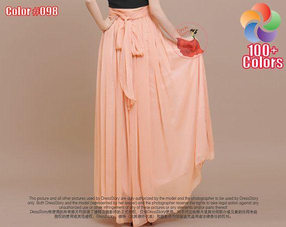 Pale Orange Maxi Skirt with Waist Sash and Yoke - Chiffon Maxi Skirt - Long Chiffon Skirt with Extra Wide Hem - Orange Maxi Skirt -SK35  Ask a question AU$81.20