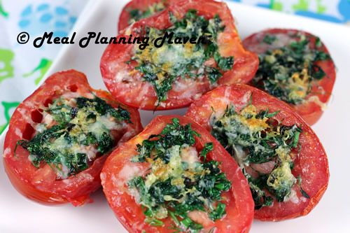 Parmesan 'n Herb-Crusted Plum Tomatoes by Meal Planning Maven