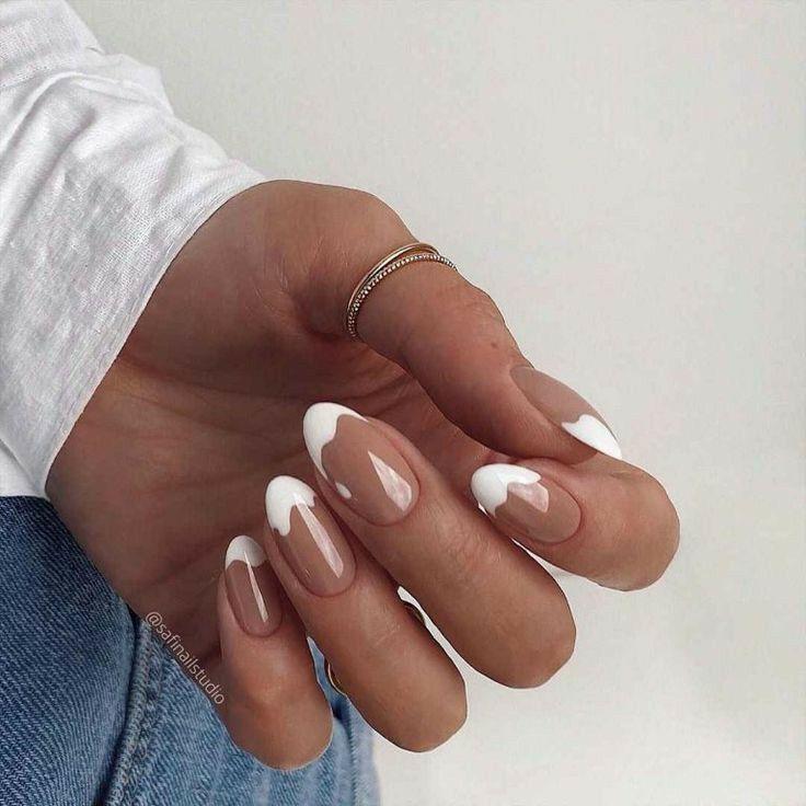 Nagellack Design, Nagellack Trends, Chic Nails, Stylish Nails, Classy Nails, Milky Nails, Oval Nails, White Shellac Nails, Fire Nails