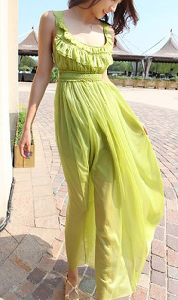 Cute Cheap Green bohemian long chiffon beach dress MZ99 - Beach Dresses Online Shopping Free Shipping
