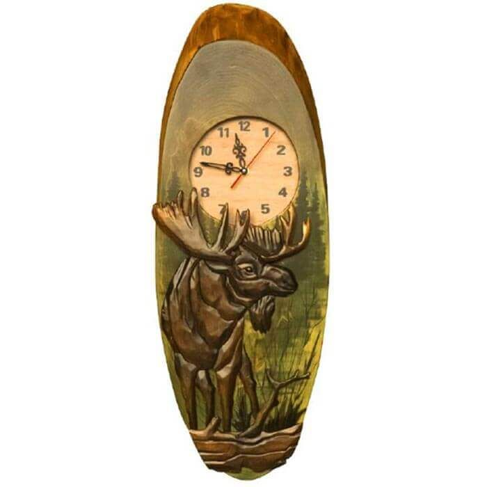 Timberland Moose Hand Carved Clock Hand Carved Clock Carving