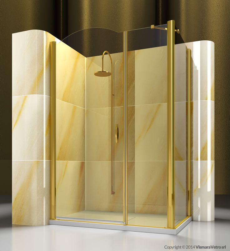 Corner shower enclosure made by an opening element A2 with a side element FD. | Shower enclosures Gold by @vismaravetro | A2+FD