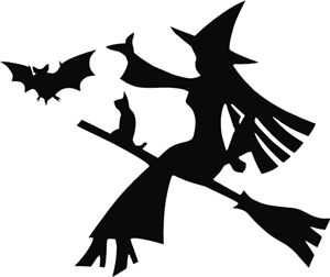 Silhouette Online Store - View Design #31942: flying witch and bat