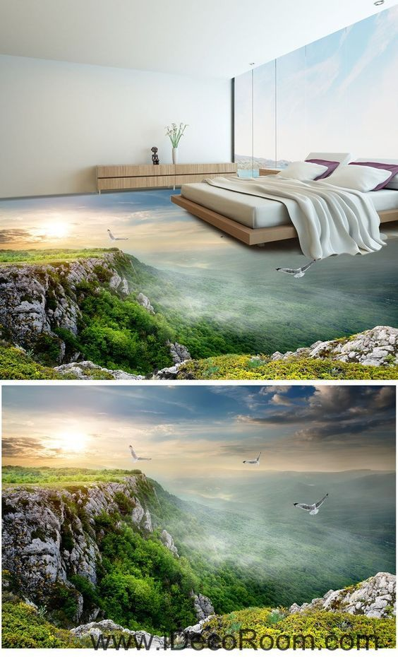 Mountain Top Birds 00049 Floor Decals 3D Wallpaper Wall Mural Stickers Print Art Bathroom Decor Living Room Kitchen Waterproof Business Home Office Gift
