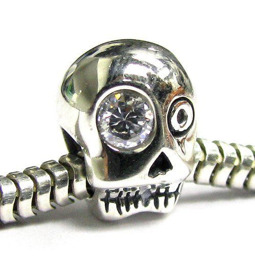Sterling Silver Skeleton Skull Cz Bead For Pandora Chamilia Baigi Troll European Story Charm Bracelets Queenberry. $14.98. Color: Antique Silver (oxidized) and clear. Materials: 925 Sterling Silver (Stamped) and cz. Size: ~11mm (Height) x 8.9mm (Width) x 8.7mm (Thickness). Hole size: ~4.5mm. Quantity: 1 piece. Save 61%!