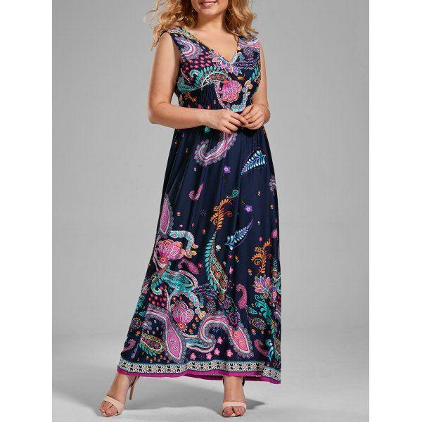 fce6ca47a9 V Neck Printed Plus Size Boho Long Dress