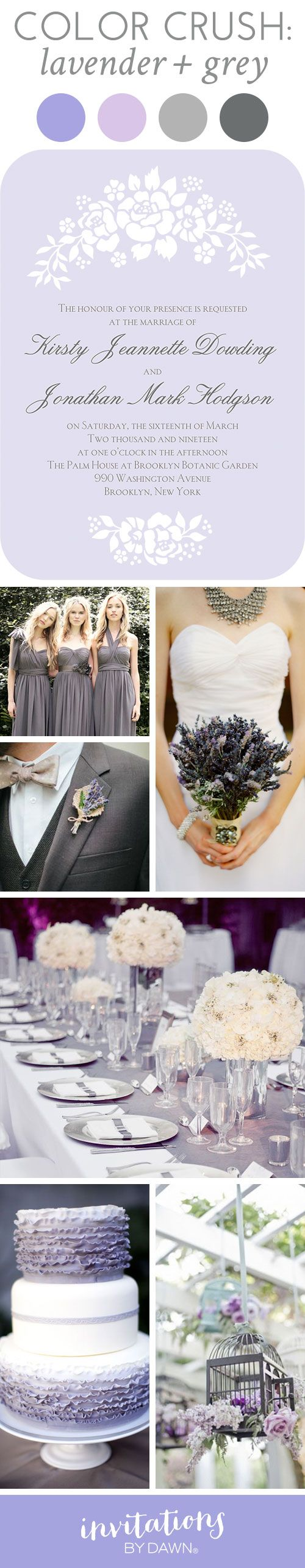 Wedding Color Crush: Lavender and Grey #purplewedding #colincowie #floralwedding