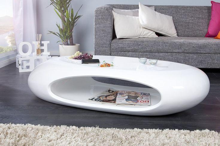 Table basse design Galet II blanc laque