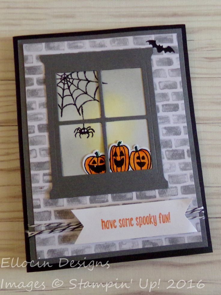 Fun Halloween card made with Hearth and Home Thinlits, Spooky Fun stamp set, and Halloween Night Designer Series Paper from Stampin' Up!