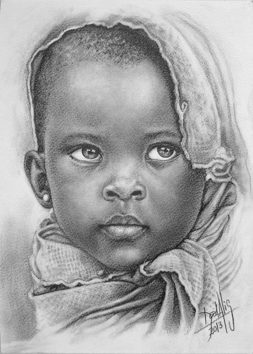 Niño de raza negra 67 Lápiz de Grafito sobre Guarro 25 x 35 cm Año 2013