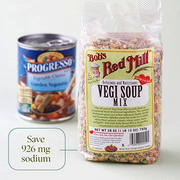 Packaged Soup Mix (like Bob's Red Mill) has 14mg sodium compared to Progresso canned soup that has 940mg!