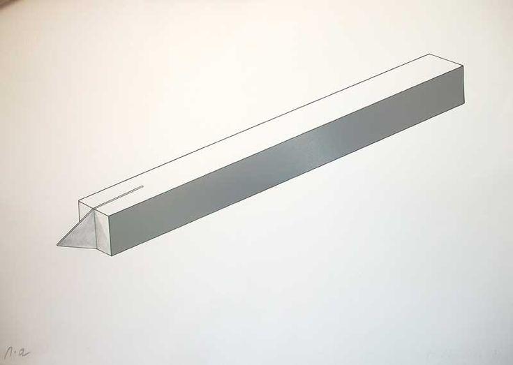 Mauro Staccioli,S.T. - Litografia , p.a. ritoccata a mano a matita. - cm.70 x 50, 1974