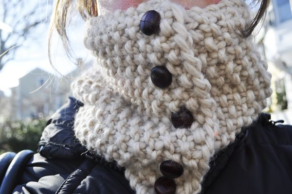 Seed Stitch Leather Button NeckwarmerButtons Neckwarmer, Stitches Neckwarmer, Neck Warmer