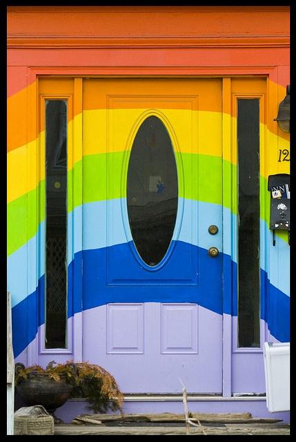 Rainbow door!: Adorable Doors, Doors Window, Rainbows Color, Front Doors, Color Rainbows, Doors 0, Color Doors, Rainbows House, Rainbows Doors