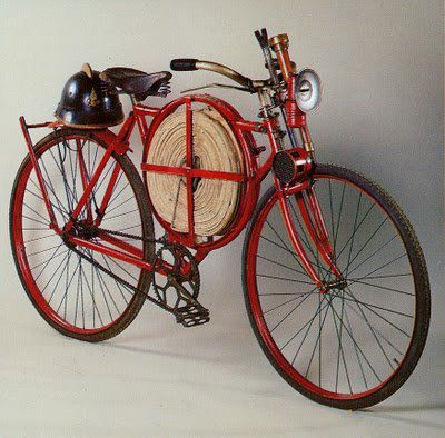 1905 era Fireman's Bicycle. If you're house was burning down, I guess you just had to really hope they peddled fast!!!