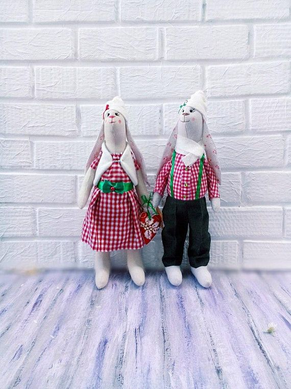 Tilda bunny rabbit tildа doll hare Christmas Rabbit  red