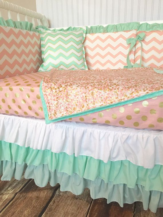 This made-to-order crib bedding set includes a Blanket, cotton couture fitted sheet, Mint Chevron Accent Pillow, 6 pc. Bumper with Ruffle and