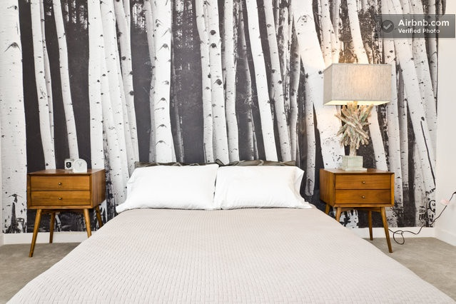 Black and white birch tree wallpaper covers a simple bedroom in LA.