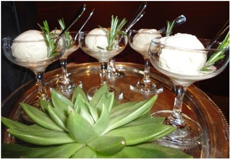 Scoozi's Rosemary Ice Cream with Fresh Rosemary Garnish