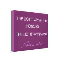 Namaste Greeting, inspirational canvas, purple Canvas Print