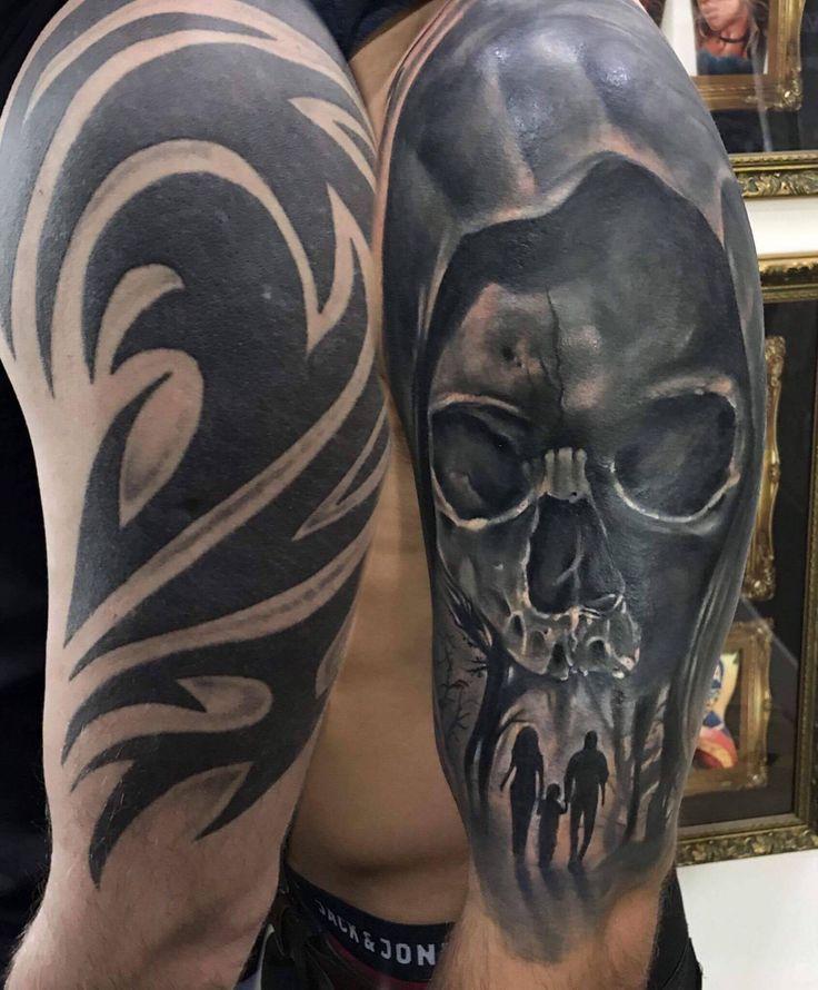 Skull Tribal Coverup Tattoo By Sebastian Dark Tattoos For Men Sleeve Coveruptattoo Cover Up Tattoos Tribal Tattoo Cover Up Cover Up Tattoos For Men Arm