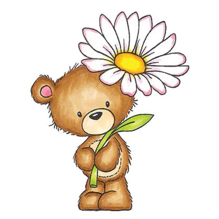 Открытка медведь с ромашками, днем рождения людмила