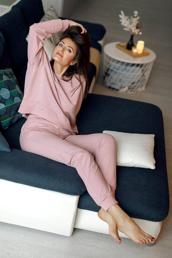Jersey Long Sleeve Crop Top /& Wide Leg Trousers Lounge Wear Pyjama Set Active