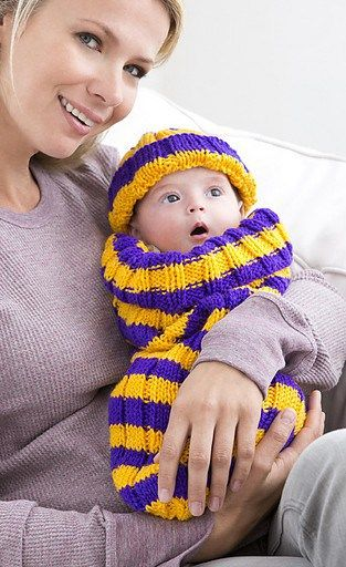 Free knitting pattern for Petite Pep Squad cocoon - Knit this cocoon in your team's colors! snuggle sack bunting bag