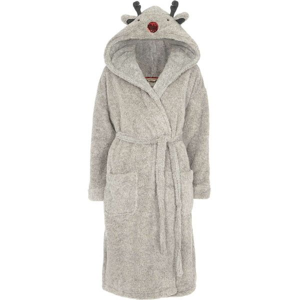 Dorothy Perkins Grey Reindeer Character Robe ($49) ❤ liked on Polyvore featuring intimates, robes, grey, sequin robe, gray robe, hooded robe, dorothy perkins and grey robe