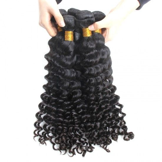 3 Bundle Deals with Lace Frontal 13×4 Deep Wave 100% Authentic Raw Human Hair Material Weft with Ear to Ear Lace Frontal Closure