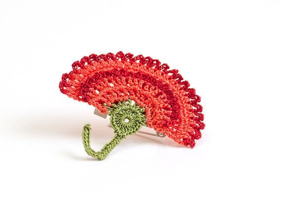 Crochet Lace Carnation Brooch Vermilion Carmen Red by PinaraDesign