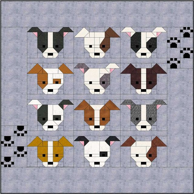 """Dog Gone Cute ""  quilt with Paw Print borders finishes at 74 "" x 74"""