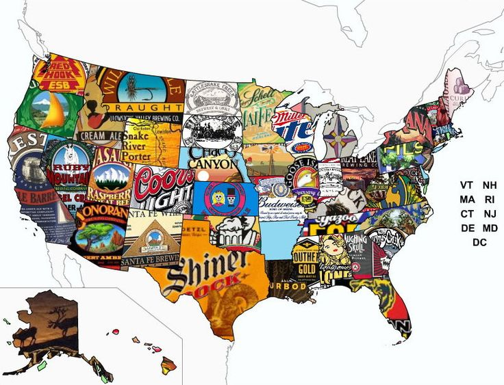 Map Of Usa In Beer Labels