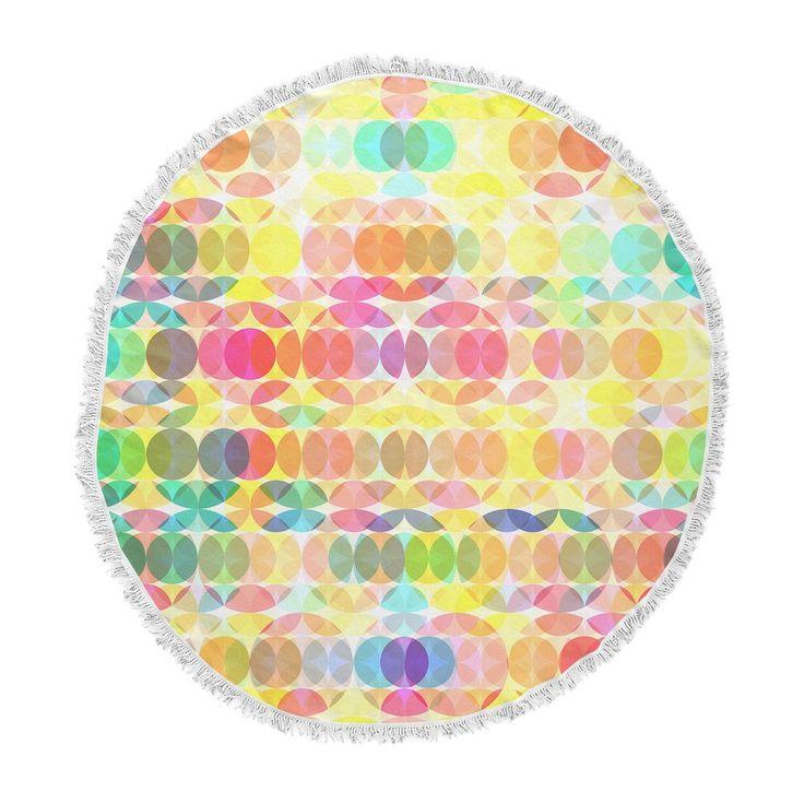 "Fimbis ""SercuelarToo"" Geometric Circles Round Beach Towel Blanket   __  seaside, holidays, vacation,"