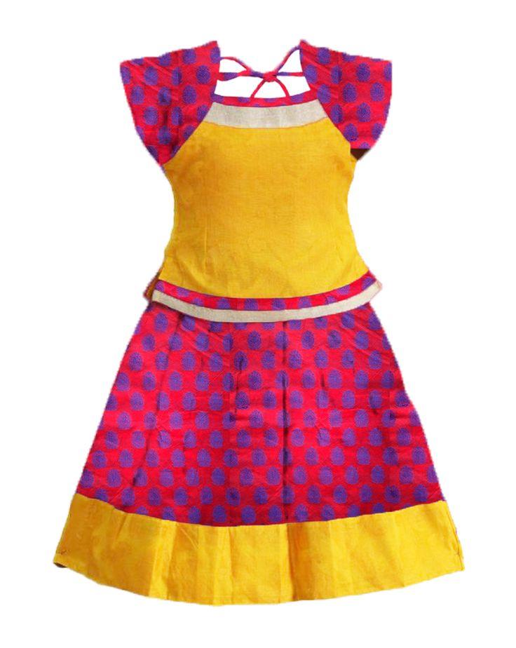 #readymadePattupavadai #kidspattupavadai Pink with yellow Pattu pavadai
