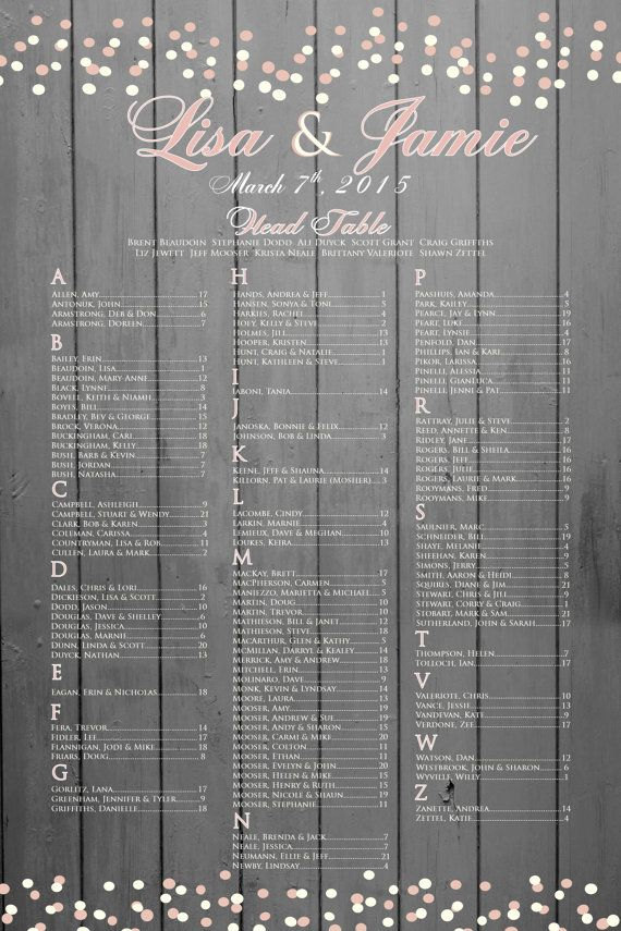 Rustic Chic Wedding seating chart in Grey by PleasebeSeatedDesign