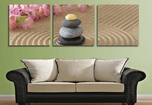 Japanese Zen Garden Wall Decor Clock on Quality Canvas Prints Set of 3 Framed | eBay