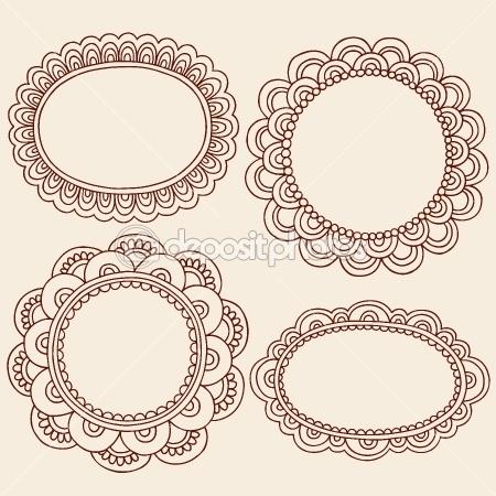 Henna Doodles Picture Frame Border Design Vector Set