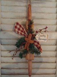 Prim Old Rolling Pin...with gingerbread man, pine & homespun tie.
