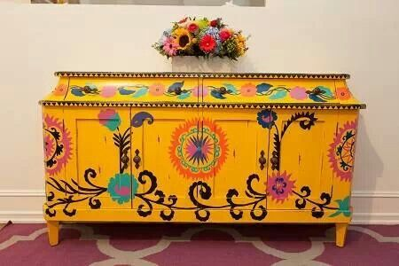 Mexican inspired piece love this yellow for the kitchen table