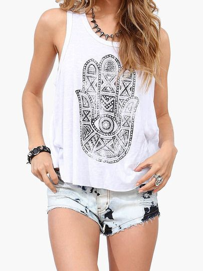 Shop White Round Neck Hand Print Split Tank Top online. SheIn offers White Round Neck Hand Print Split Tank Top & more to fit your fashionable needs.