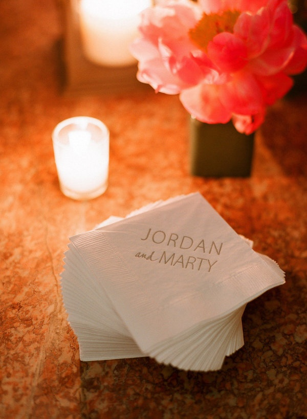 Custom napkins. Photography by lisalefkowitz.com, Event Planning by rosemaryevents.com,