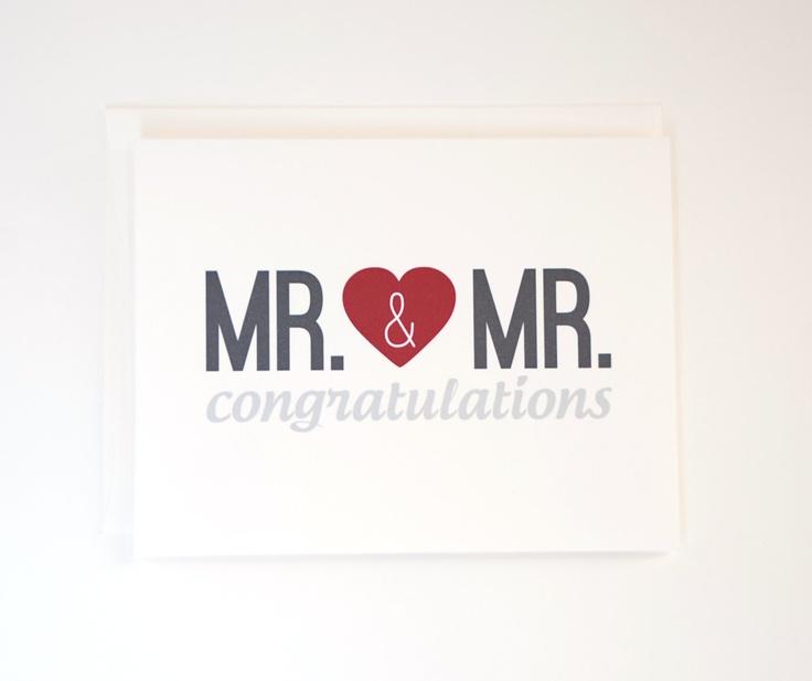 Gay Wedding Card - Mr. & Mr. Congratulations Card - Gay Engagement Card. $4.25, via Etsy.