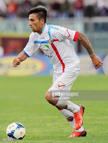 Lucas Nahuel Castro of Catania in action during the Serie A match between AS Livorno Calcio and Calcio Catania at Stadio Armando Picchi on September...
